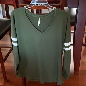 Olive green T-shirt with white stripes on sleeves